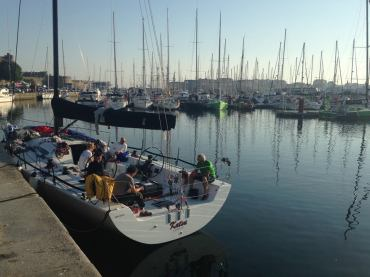 The boat and team recovering in St Malo after the 2 and half days at sea